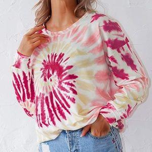 Women's long sleeve  Spiral Tie Dye Sweatshirt